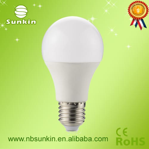 CE Rohs certificate E27 lower price 8W led bulb From Ningbo factory with 2years warranty