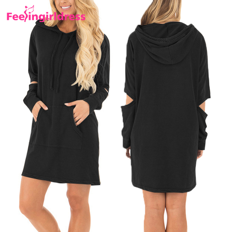 High Quality Black Long Sleeve Ladies Casual Hoodie Dress Womens
