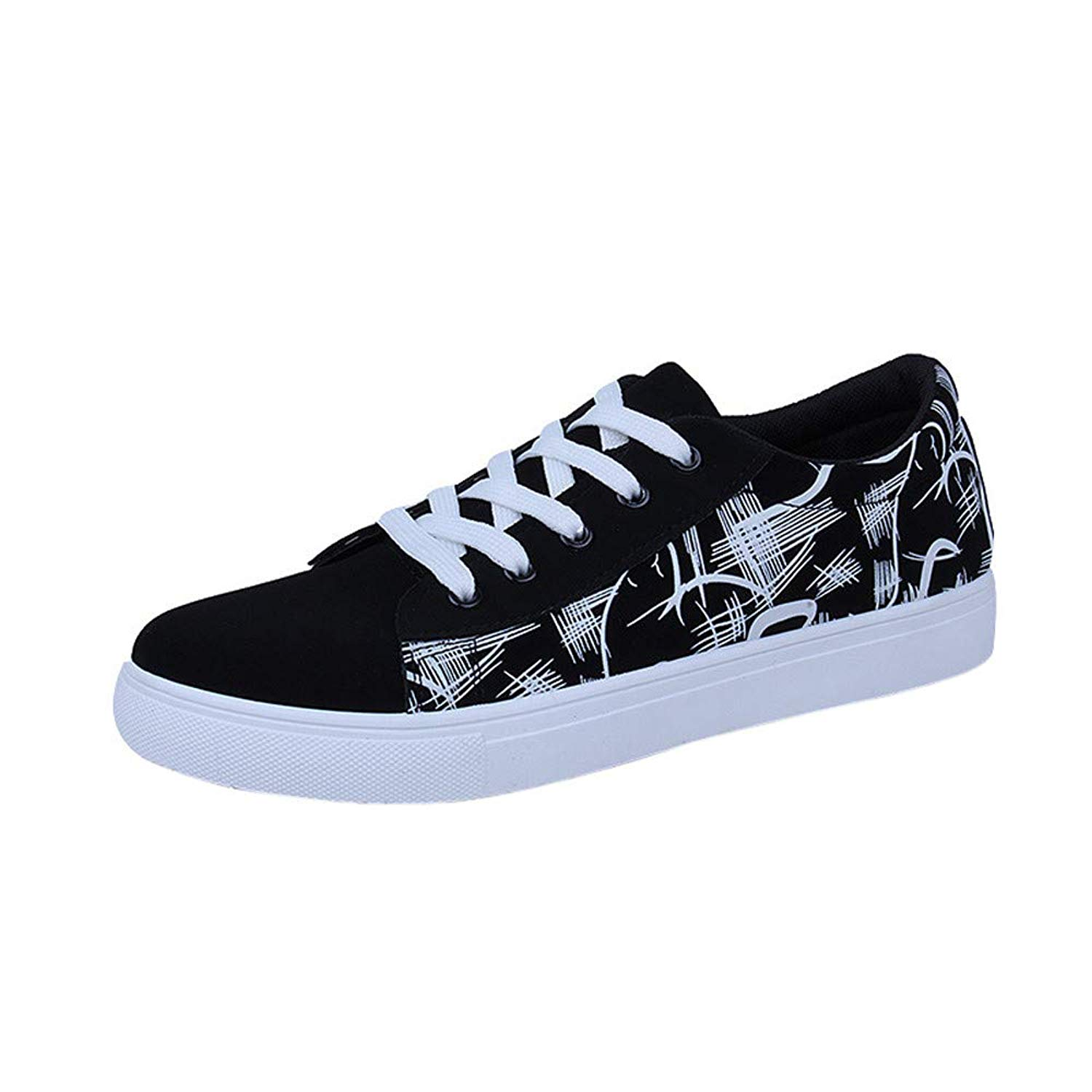 Sneakers for Men,Clearance Sale! Caopixx Men's Casual Graffiti Printing Lace-up Sport Shoes Lightweight Sneaker