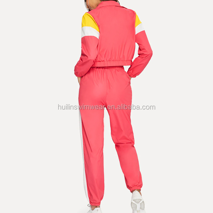 2019 New Arrival Women Zip Up Color Block Jacket & Pants Set