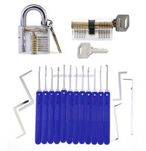 Lock Pick Set 17 Piece Lock Picking Tools with Clear Practice Padlock And Cylinder Lock For Locksmith Beginners Training Set
