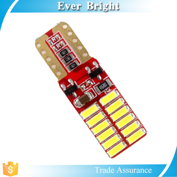 Quality AAA led bulb T10 canbus 3014 24smd Red