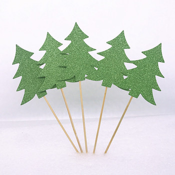Glitter Christmas Tree Cake Topper Sticks For Baby Shower Party