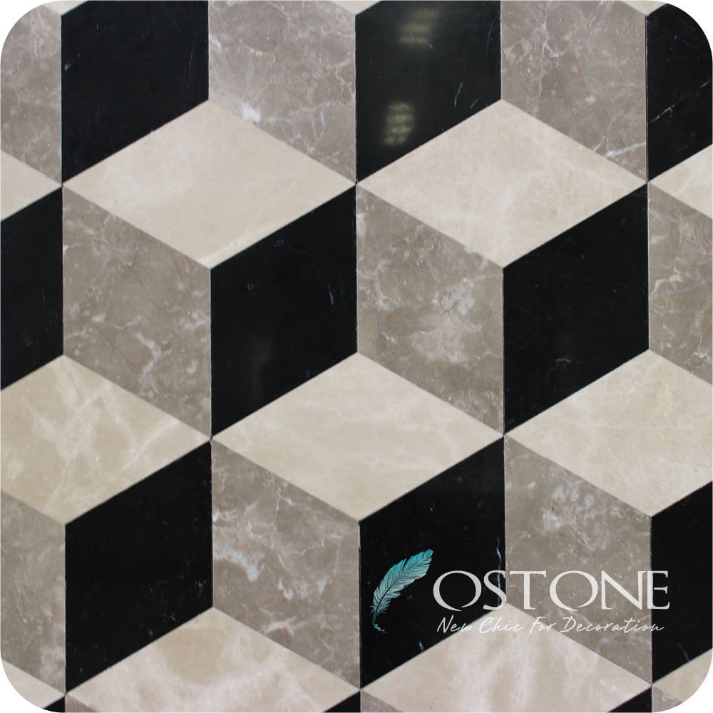 Widely Use Mixed Colors Diamond Shape 3d Marble Floor Design, Wall Design