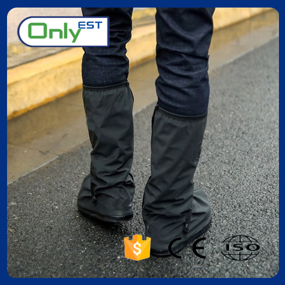 High boots black color new fashion motorcycle rain shoes cover for men
