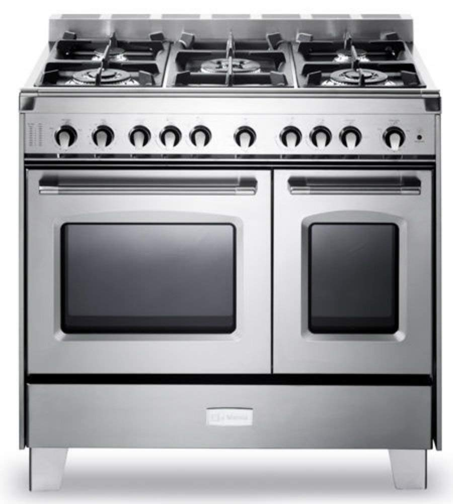 "Verona VCLFSGG365DSS 36"" Classic All Gas Range Double Oven Convection 5 Sealed Burners Full-Width Storage Stainless Steel"