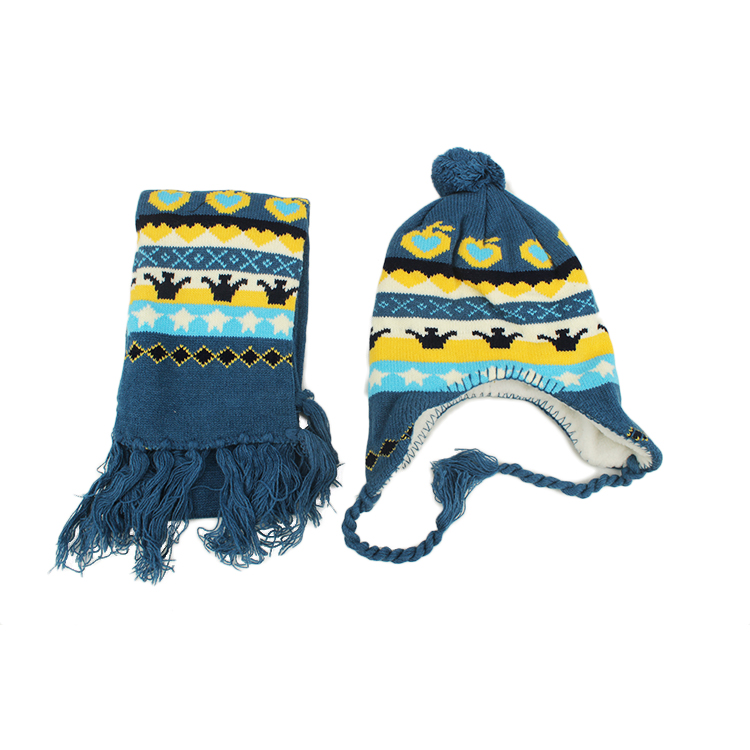 bc00b8e1259 Fashion Jacquard Organic Cotton Baby Beanies Knit Hat With Earflaps ...