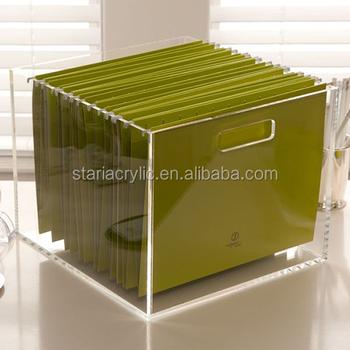 Portable Acrylic File Hanging Storage Box Desk Organizer 8 5x11