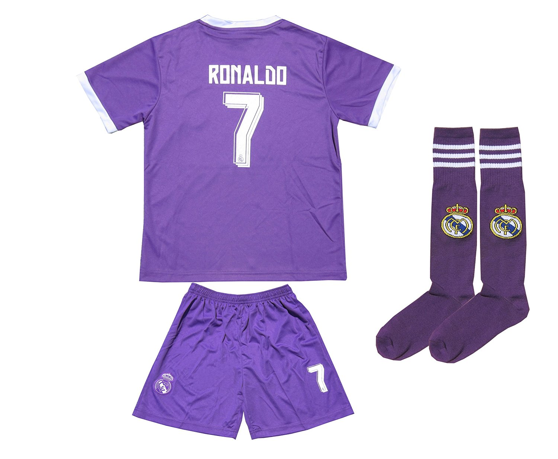 633533158 2016 2017 Real Madrid  7 RONALDO Away Soccer Kids Jersey   Shorts Socks  Youth