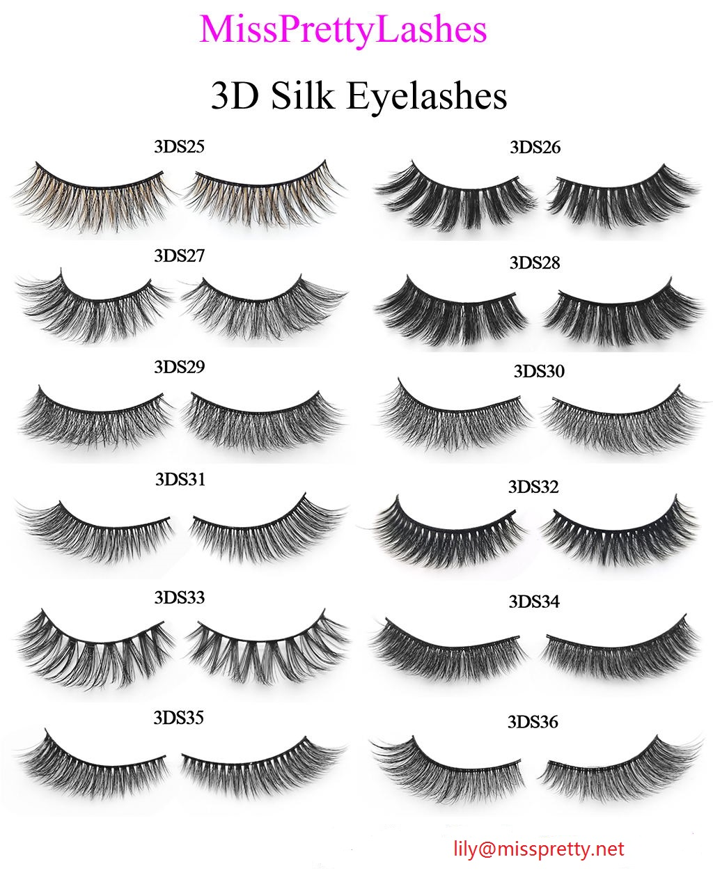 Natural looking 3D Silk Lashes