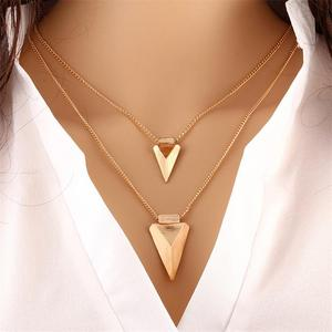 Athens greece jewelry 24k gold two layers triangle necklaces