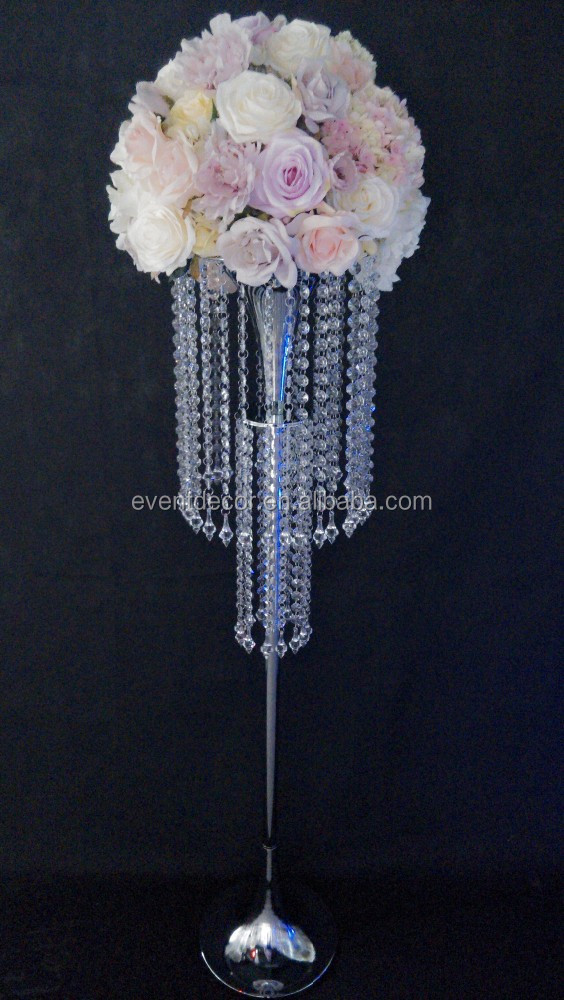 Cheap aisle stands weddings, crystal chandelier flower stand for decoration