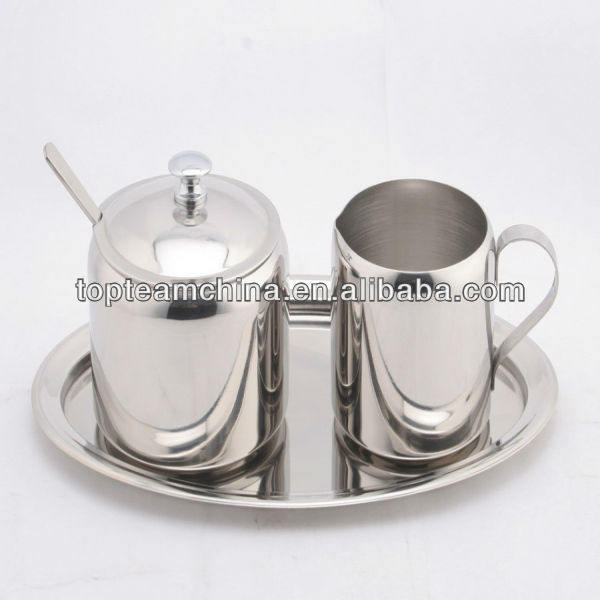 good quality food safety cheap 4 pcs sugar and creamer set stainless steel sugar and milk pot 150ml with round dish
