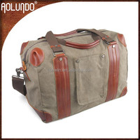 Fashion large capacity canvas with leather handle wholesale custom military duffle bags