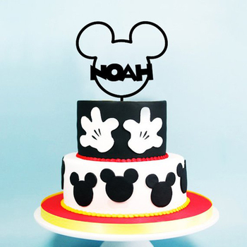 Strange Custom Black Mickey Ears Personalized First Birthday Acrylic Personalised Birthday Cards Veneteletsinfo