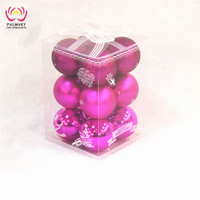 Christmas ornaments 7cm pink baubles shiny matt glitter balls 12 pcs/PVC box factory supply Christmas ball box