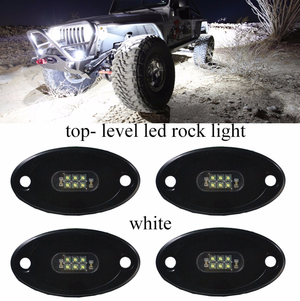4 Pods LED Rock Light Kits, Waterproof Underglow LED Neon Trail Rig Lights for Car Truck Off road Boat Underbody Glow (White)