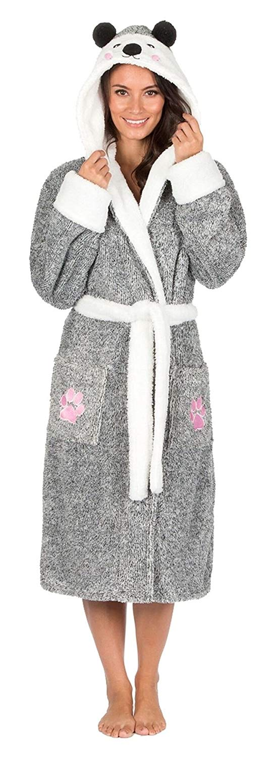 a0d7d69c58 Get Quotations · Womens Animal Hooded Coral Fleece Dressing Gown Robe Wrap  Bathrobe Nightwear