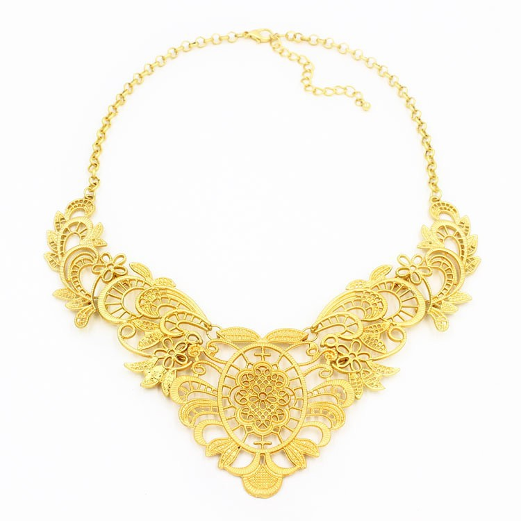 Gold chains hollow flower shape necklace new products with ablibaba express