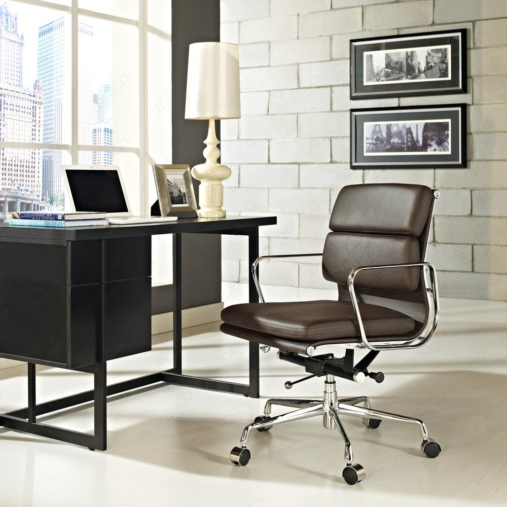 Low Back Modern Conference Chair Leather Living Room Chair Soft