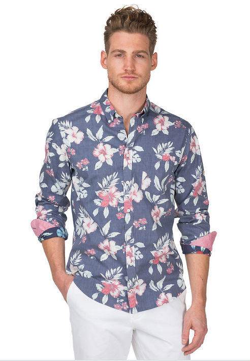Mens Fashion Dress Shirts,Floral Printing Mens Shirts,Double ...