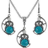 Fashion american retro crystal owl hoop earring and morgan turquoise pendant necklace jewellery sets