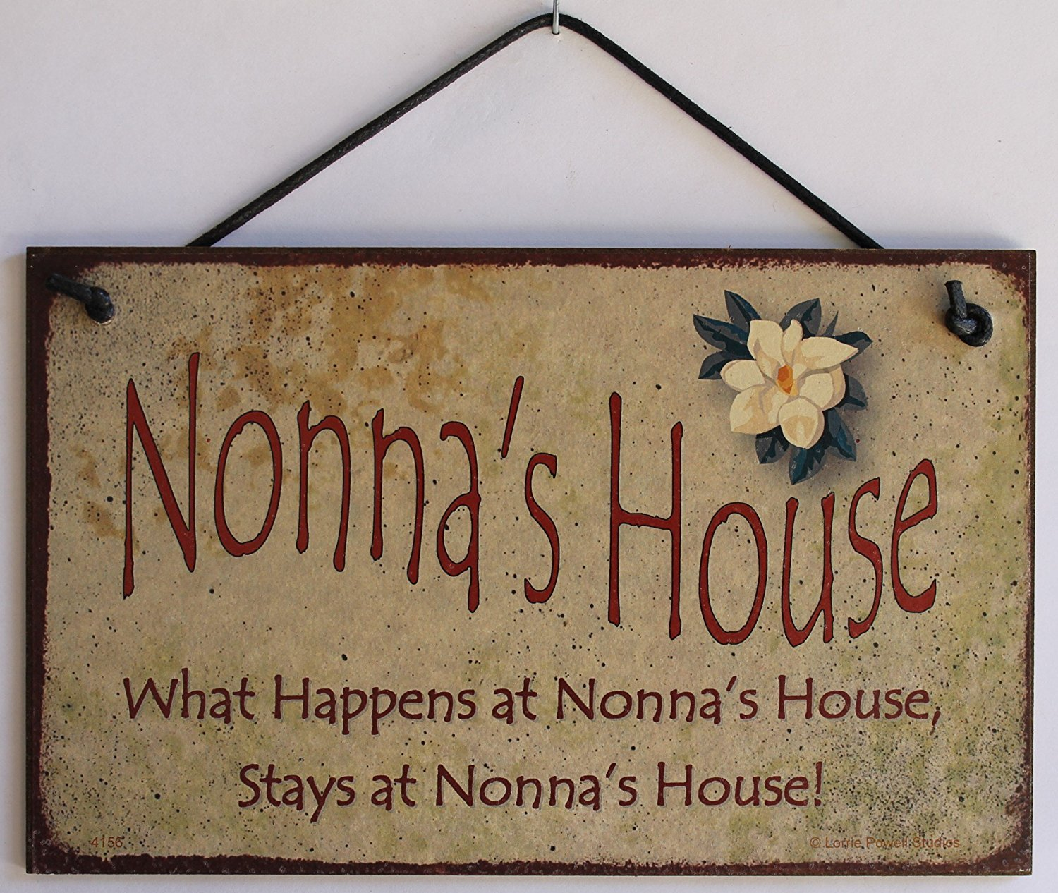 "5x8 Vintage Style Sign with Magnolia Saying, ""Nonna's House What Happens at Nonna's House, Stays at Nonna's House!"" Decorative Fun Universal Household Signs from Egbert's Treasures"