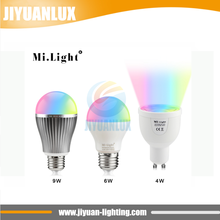 Dimmable Mi Light GU10 E27 B22 RGB Led Bulb Lamp 4W 6W 9W MiLight 2.5G Wireless Lights 85-265V RGBWW Spot light lampada