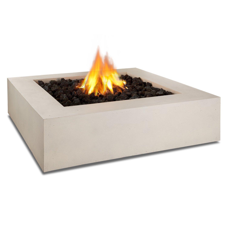 Real Flame Mezzo Square Propane Fire Pit/Table in Antique White