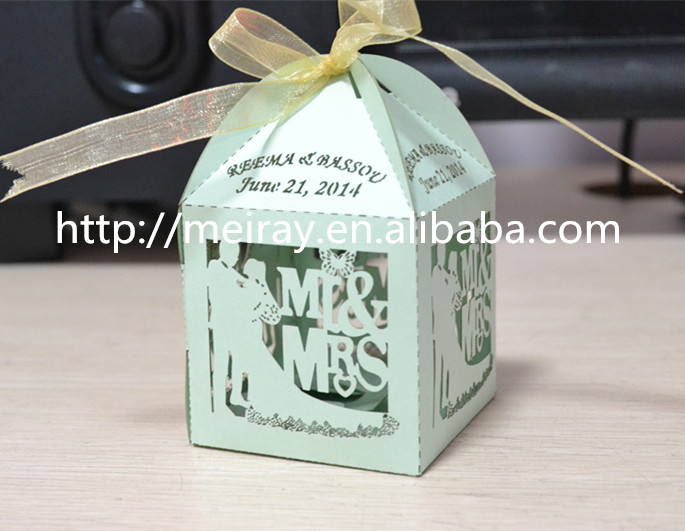 Paper Light Green Wedding Gifts Boxes For Chocolate Packagingbride