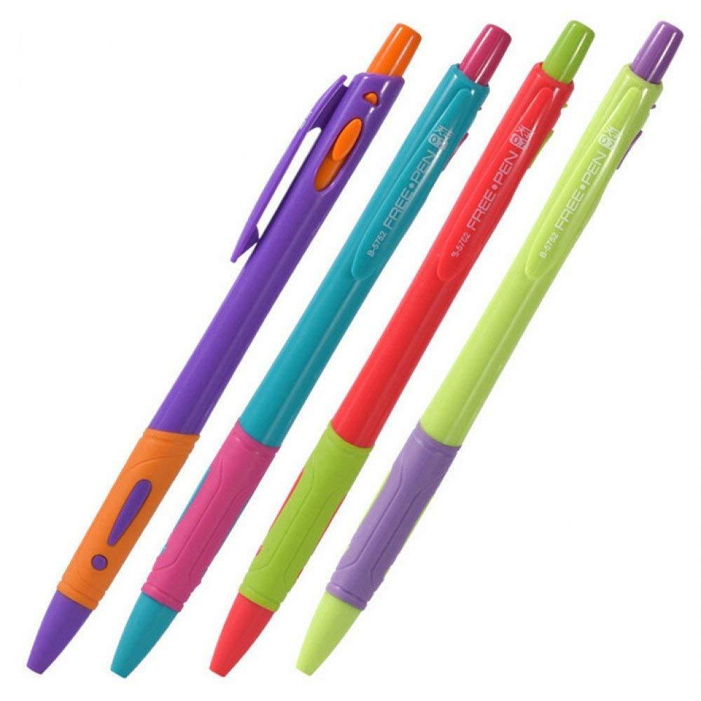 GMYANYZB Ballpoint pen 4pcs/set Plastic Ballpoint Pen 0.7mm Red, Black, Blue, Transparent Ballpoint Pen