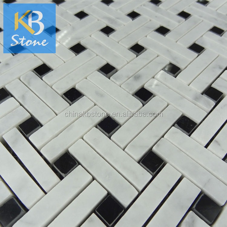 Beautiful Carrara with Black dot marble mosaic tile, basketweave with high quality