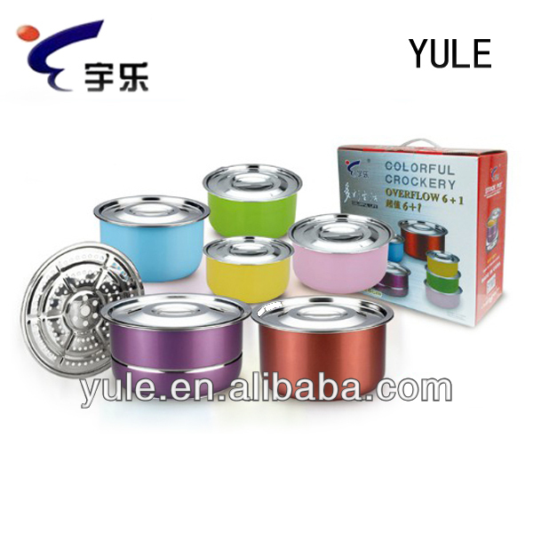 YULE 6PCS+1 Cookware Set/Steam Pot/Soup Tureen Promotion Gift Set Colourful Stockpot Set Stainless Steel Pot