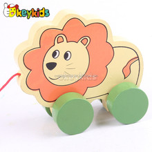 2016 wholesale baby wooden pull car toy, funny kids wooden pull car toy, children animal wooden pull car toy W05B113