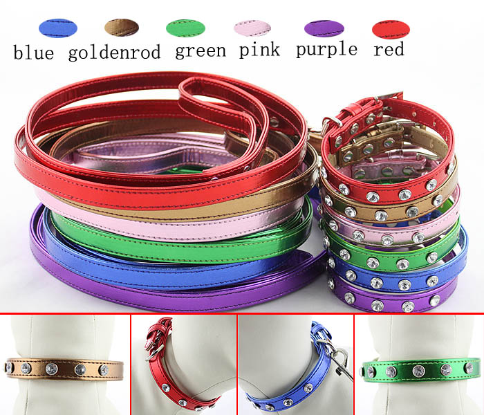 Pet supply wholesale Rhinestones dog collars and leashes set Pet Products
