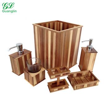 Cute Bathroom Accessories Sets.Acacia Wood Bathroom Accessories 6 Piece Bathroom Set For Spa Cute