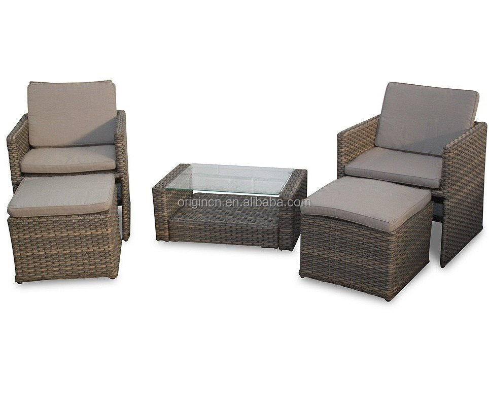 Chaise lounge designed outdoor rattan bar furniture set terrace leisure coffee table and chair