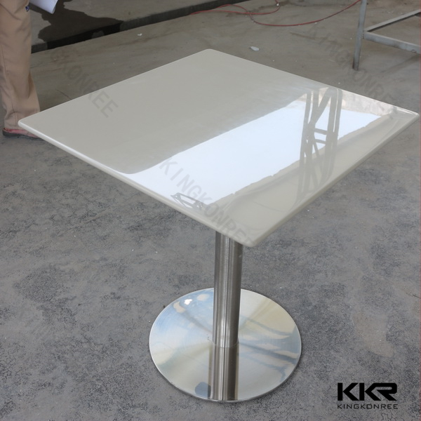 White Artificial Acrylic Solid Surface Cafe Table Marble Table Tops With Customized Sizes