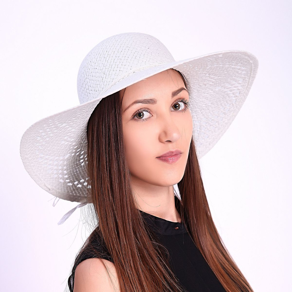 2015 New Fashion Elegant White Summer Straw with Strings Hollow Out Design  High Quality Women Beach Summer Hat Ruffle 046acefc0a92