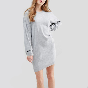 YL OEM soft leisure dropped shoulders women dress in grey