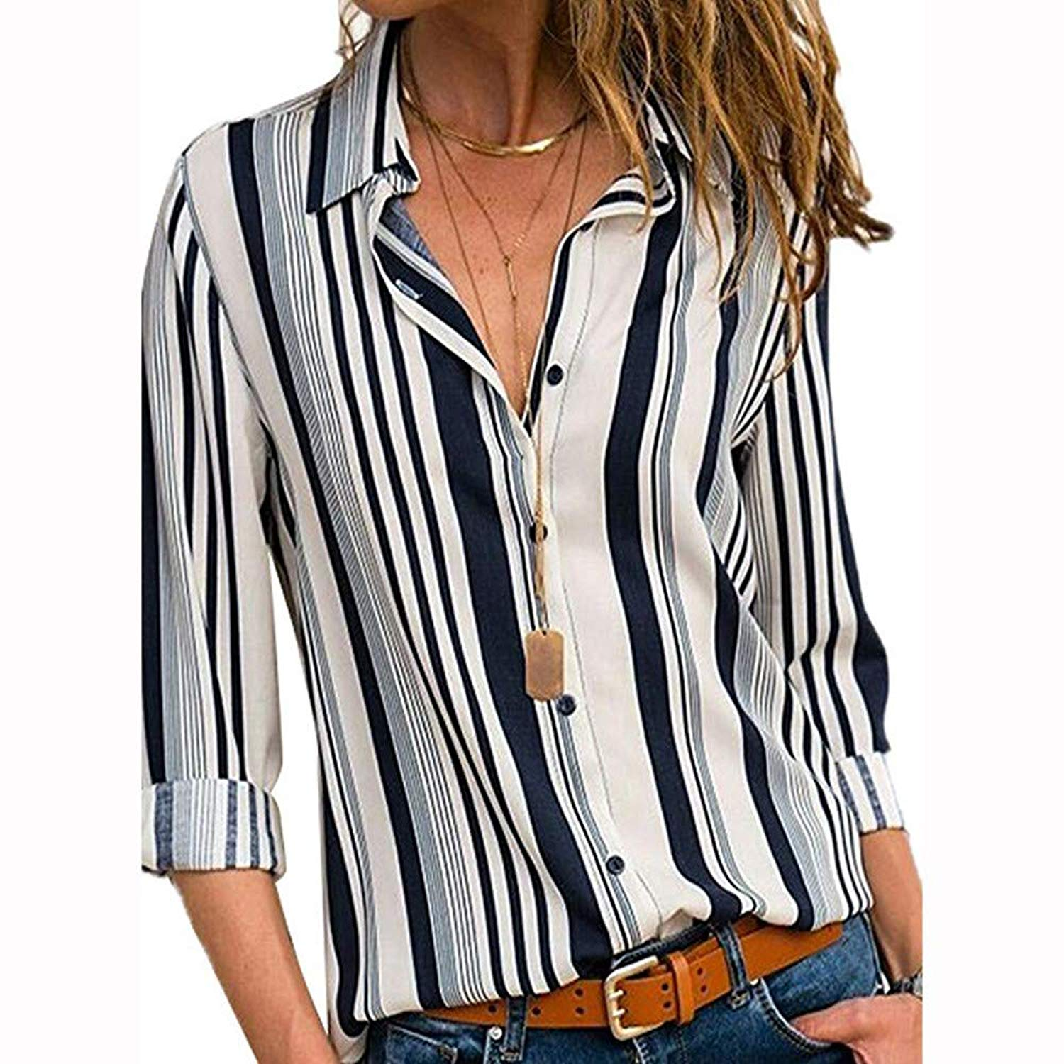 d4acbd0697 Get Quotations · FRana Blouses for Women Long Sleeve Shirts Casual Tops T  Shirt Sexy Striped Henley Shirts Tunics