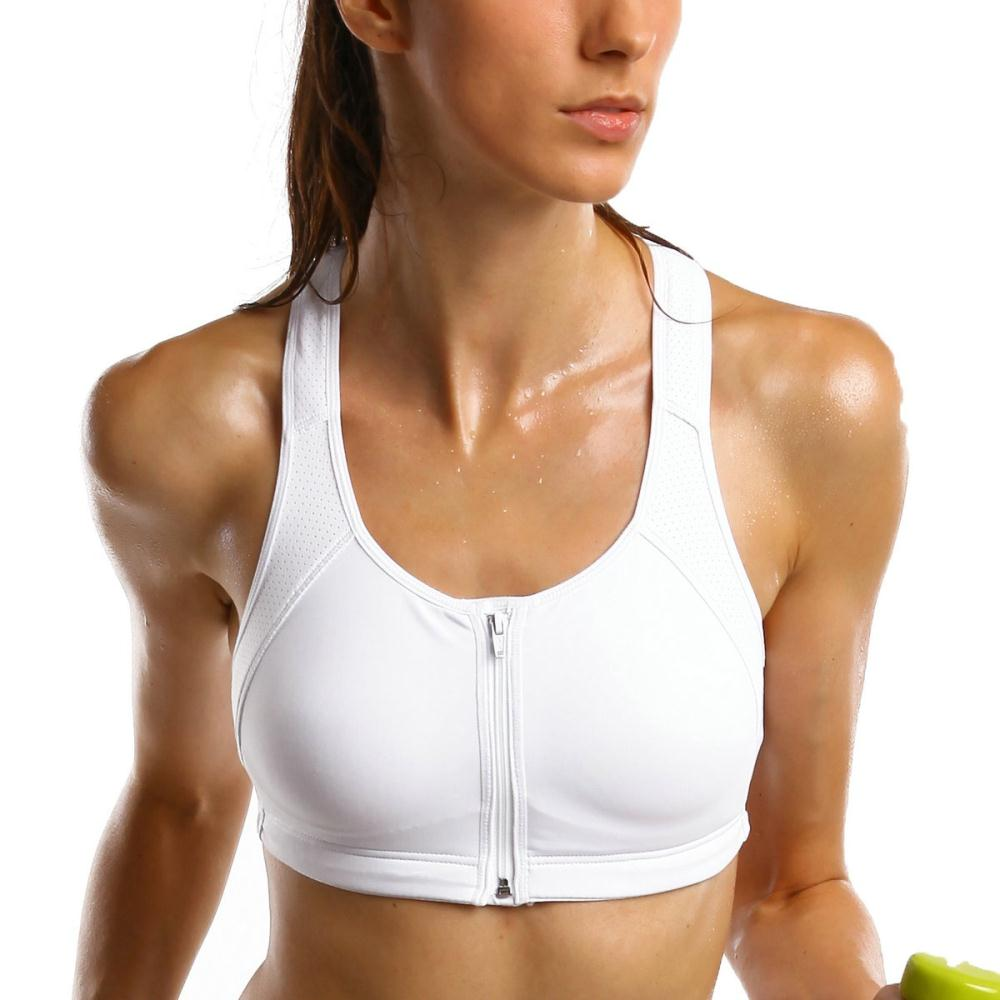 82f894adf5e8d Get Quotations · La Isla Women s Zip Front Closure Racerback Tech Pro Sports  Bra