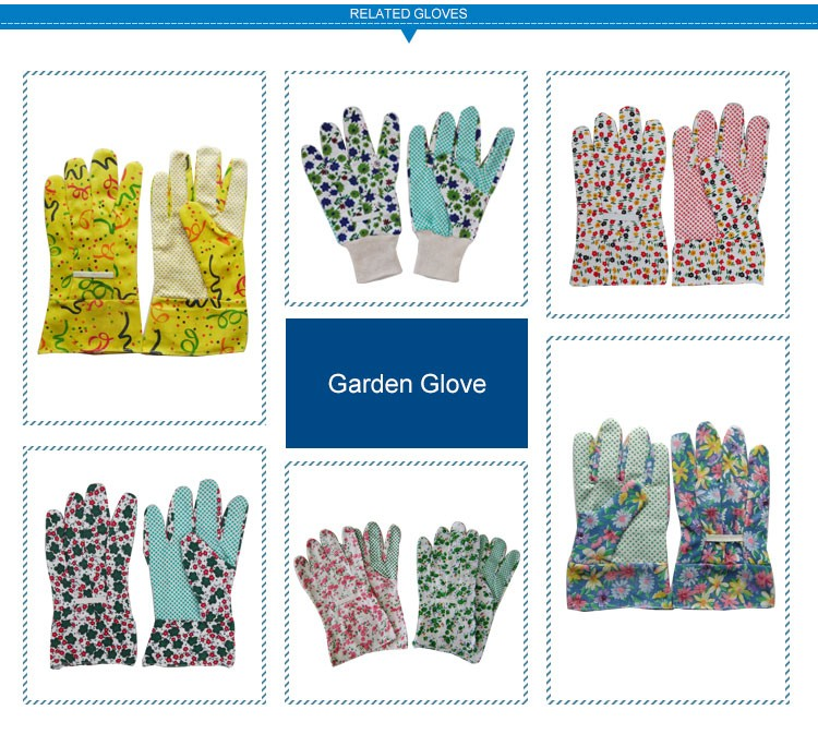 Widely Used Durable Drill Cotton Garden Claws Glove With PVC Dots
