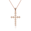 Hot Selling Simple Style Copper Alloy Zircon Pendant 18k Gold Cross Necklace