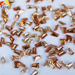 Synthetic Champagne Rectangle shape Step cut Rough cubic zirconia price for sale