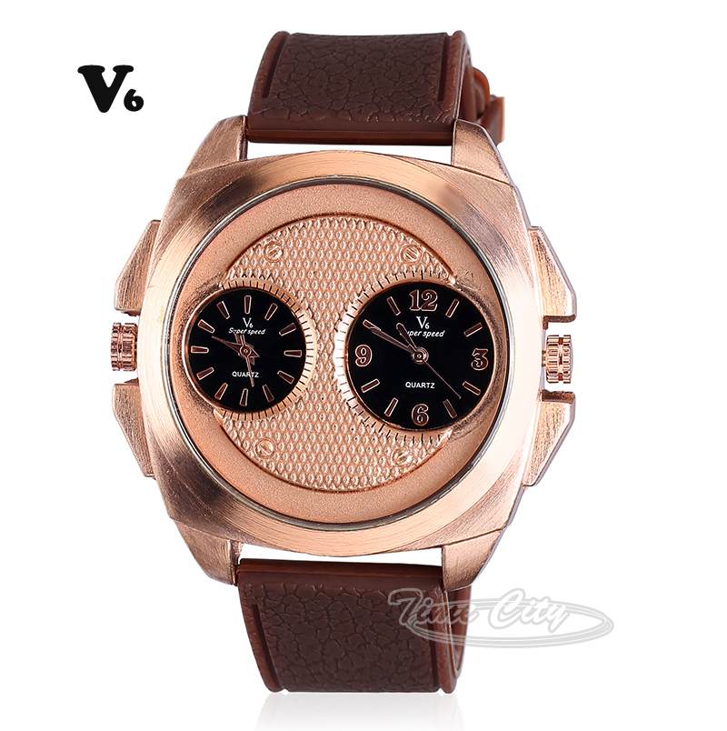 2015 Double Movement Men's Quartz Watches Fashion Black Brown Silicone Strap V6 Hours Sports Design Luxury Gift Wrist watches