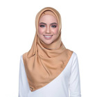 best selling solid color muslim scarves women smooth satin silk square scarf