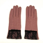 2019 Fashion Pink Lace Woolen Gloves for lady