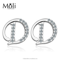 Popular Letter D Design Micro Zircon Crystal 925 Sterling Silver Stud Earrings Jewelry with White Gold Plating