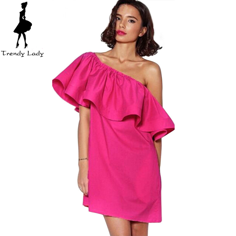 05f17500aaf9 Get Quotations · 2015 Summer New Arrival Mini Ruffle Dress Wtih Belt Plus  Size Sleeve Off Shoulder Slash Neck